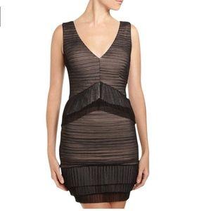 BCBGMAXAZRIA Black/Nude Overlay Sven Dress
